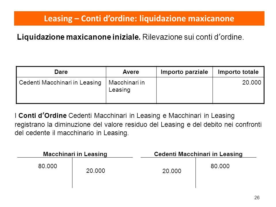 26 Leasing – Conti d'ordine: liquidazione maxicanone Liquidazione maxicanone iniziale. Rilevazione sui conti d'ordine. DareAvereImporto parzialeImport