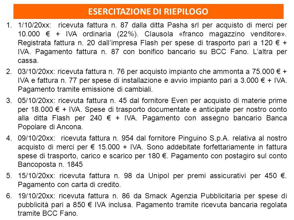 ESERCITAZIONE DI RIEPILOGO 1.1/10/20xx: ricevuta fattura n. 87 dalla ditta Pasha srl per acquisto di merci per 10.000 € + IVA ordinaria (22%). Clausol