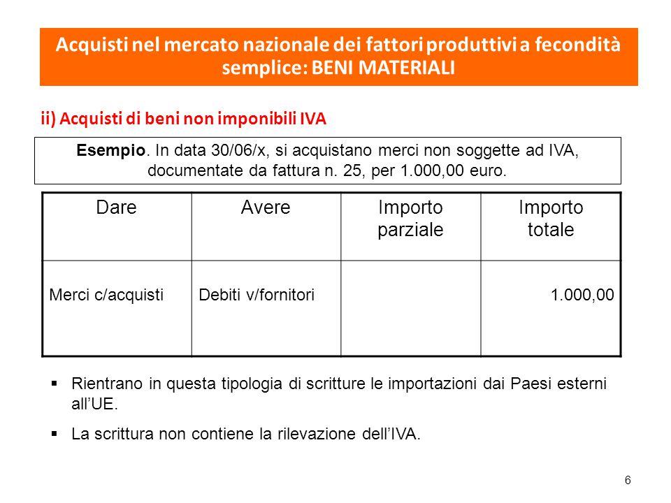 7 iii) Acquisti esclusi dalla disciplina IVA DareAvereImporto parziale Importo totale Merci c/acquistiDebiti diversi100,00 Nel caso di pagamento contestuale all'acquisto (ad es.
