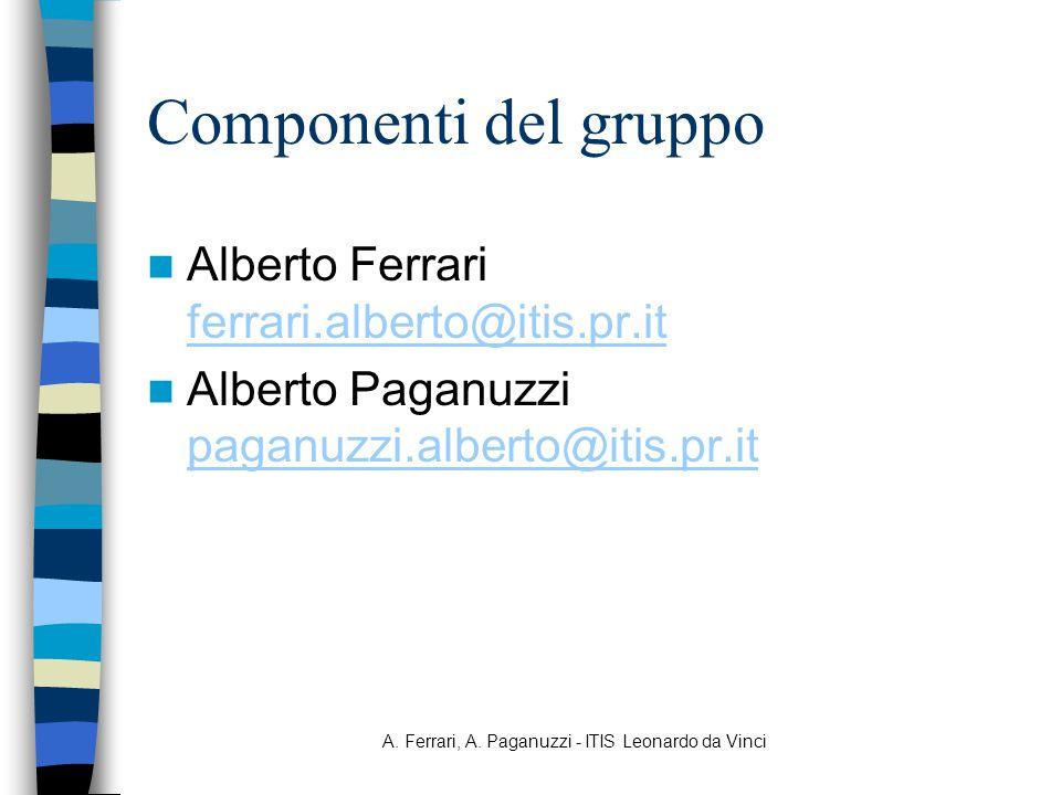 A. Ferrari, A. Paganuzzi - ITIS Leonardo da Vinci Componenti del gruppo Alberto Ferrari ferrari.alberto@itis.pr.it ferrari.alberto@itis.pr.it Alberto