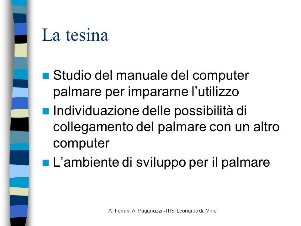 A. Ferrari, A. Paganuzzi - ITIS Leonardo da Vinci La tesina Studio del manuale del computer palmare per impararne l'utilizzo Individuazione delle poss