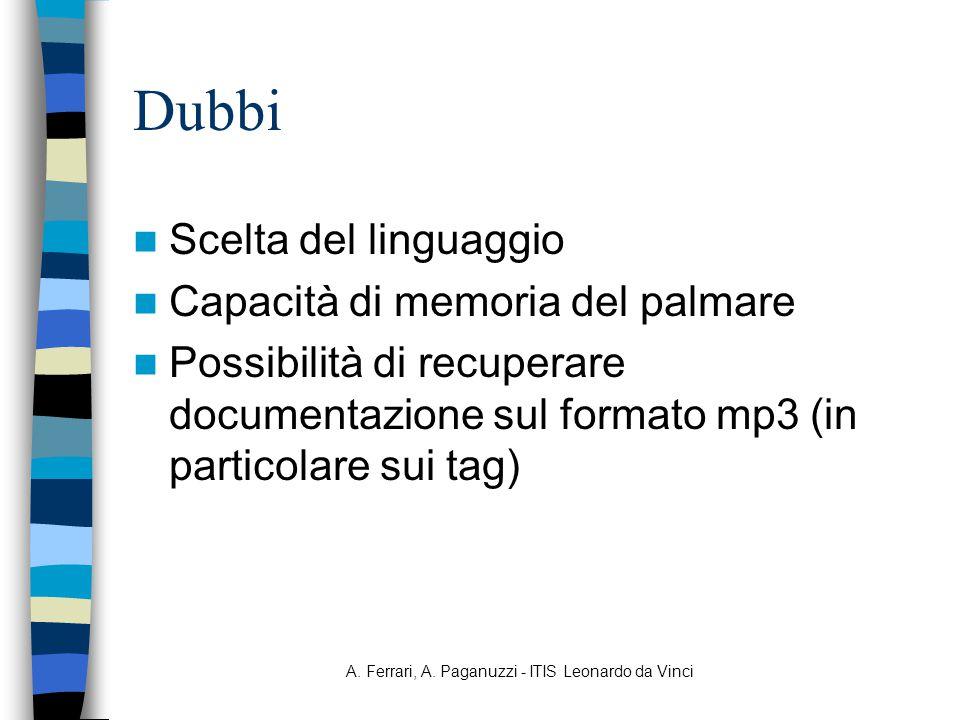 A. Ferrari, A. Paganuzzi - ITIS Leonardo da Vinci Dubbi Scelta del linguaggio Capacità di memoria del palmare Possibilità di recuperare documentazione