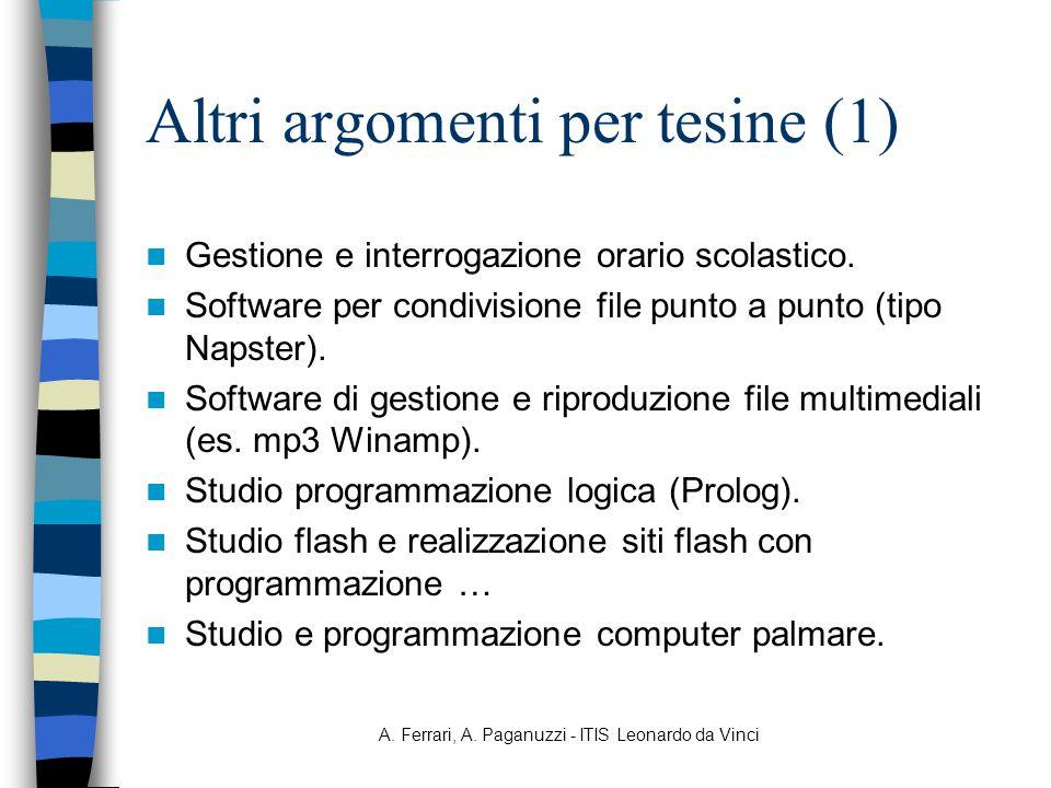 A. Ferrari, A. Paganuzzi - ITIS Leonardo da Vinci Altri argomenti per tesine (1) Gestione e interrogazione orario scolastico. Software per condivision