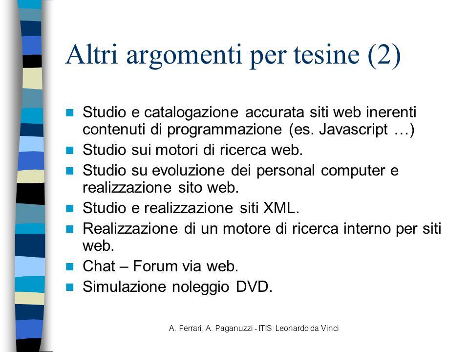 A. Ferrari, A. Paganuzzi - ITIS Leonardo da Vinci Altri argomenti per tesine (2) Studio e catalogazione accurata siti web inerenti contenuti di progra