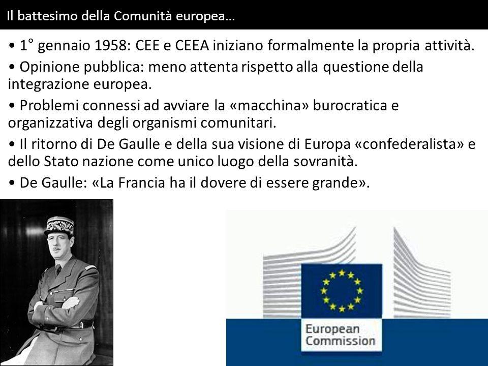Il battesimo della Comunità europea… 1° gennaio 1958: CEE e CEEA iniziano formalmente la propria attività.