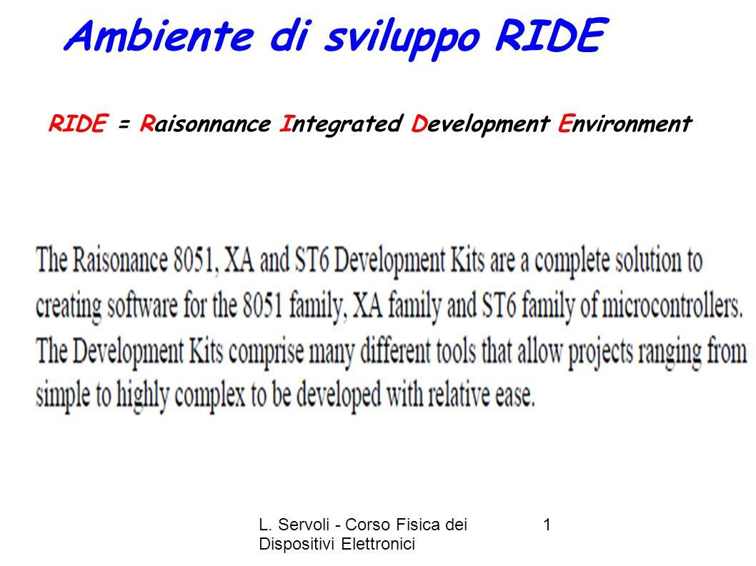 L. Servoli - Corso Fisica dei Dispositivi Elettronici 22 RIDE Session