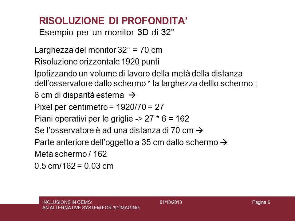 01/10/2013INCLUSIONS IN GEMS: AN ALTERNATIVE SYSTEM FOR 3D IMAGING Pagina 6 RISOLUZIONE DI PROFONDITA' Larghezza del monitor 32'' = 70 cm Risoluzione
