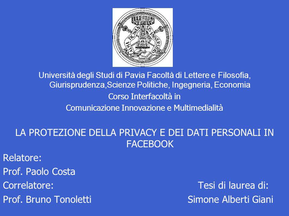 Università degli Studi di Pavia Facoltà di Lettere e Filosofia, Giurisprudenza,Scienze Politiche, Ingegneria, Economia Corso Interfacoltà in Comunicaz