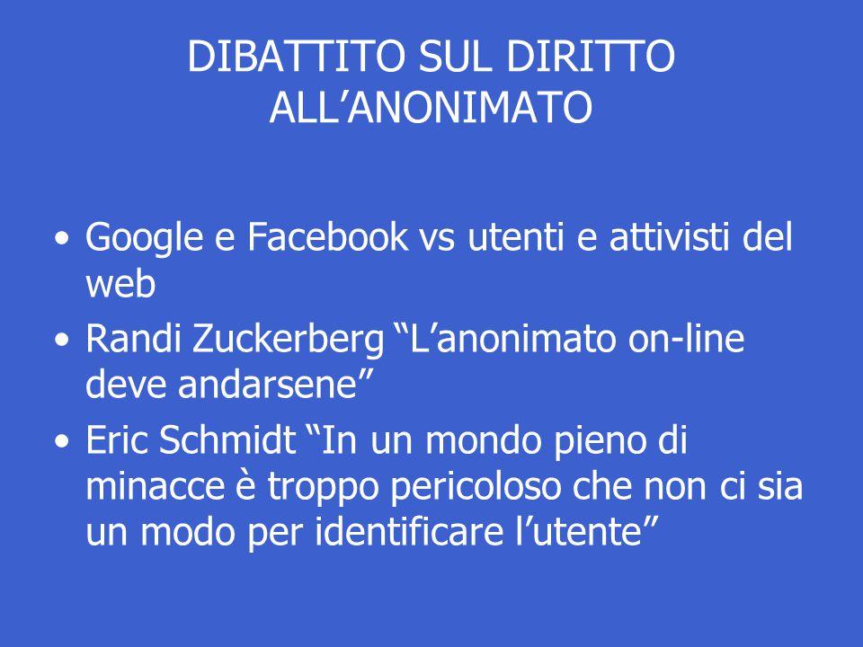 DIBATTITO SUL DIRITTO ALL'ANONIMATO Google e Facebook vs utenti e attivisti del web Randi Zuckerberg L'anonimato on-line deve andarsene Eric Schmidt In un mondo pieno di minacce è troppo pericoloso che non ci sia un modo per identificare l'utente