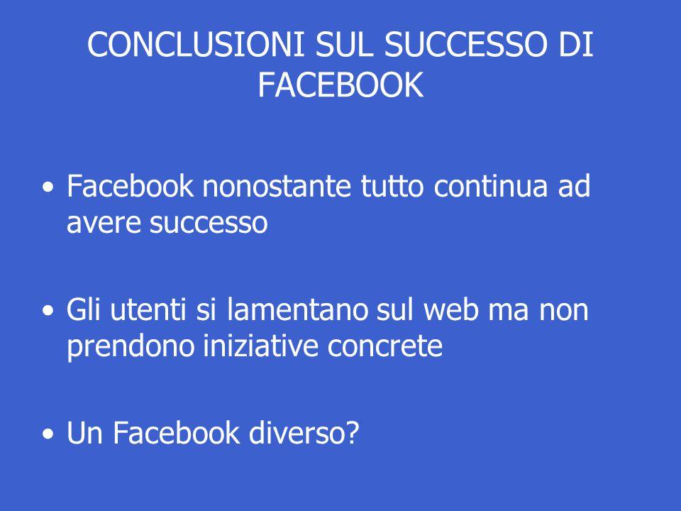 CONCLUSIONI SUL SUCCESSO DI FACEBOOK Facebook nonostante tutto continua ad avere successo Gli utenti si lamentano sul web ma non prendono iniziative concrete Un Facebook diverso?