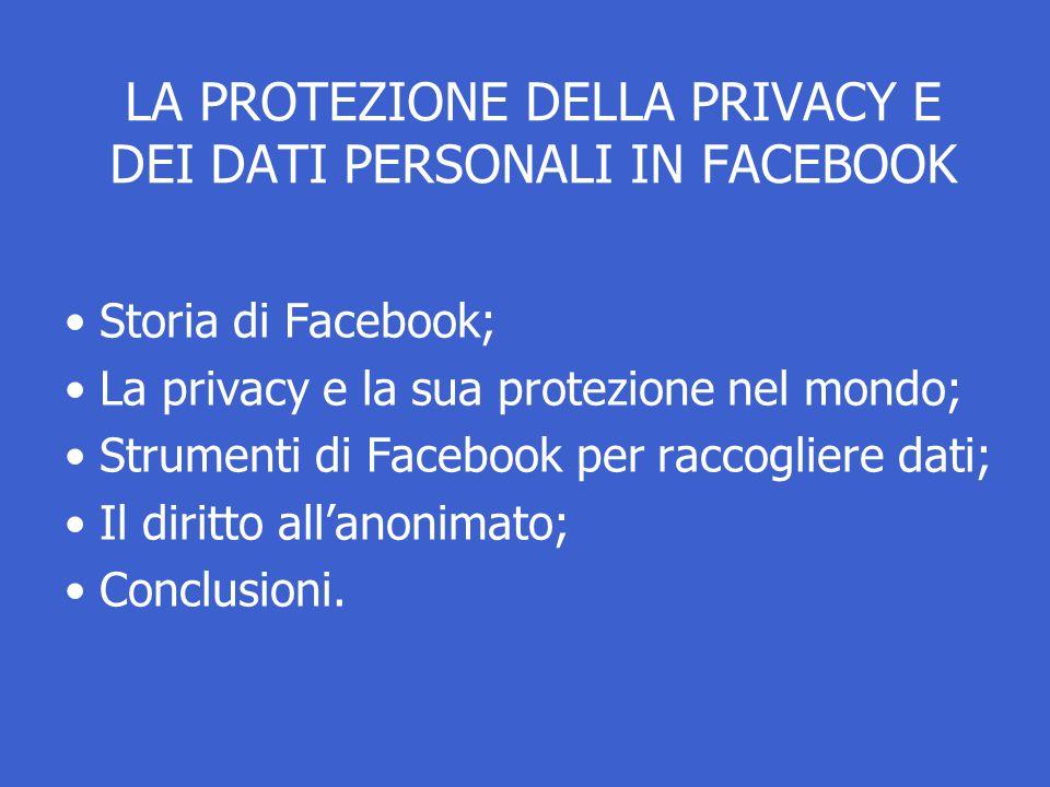 LA PROTEZIONE DELLA PRIVACY E DEI DATI PERSONALI IN FACEBOOK Storia di Facebook; La privacy e la sua protezione nel mondo; Strumenti di Facebook per raccogliere dati; Il diritto all'anonimato; Conclusioni.