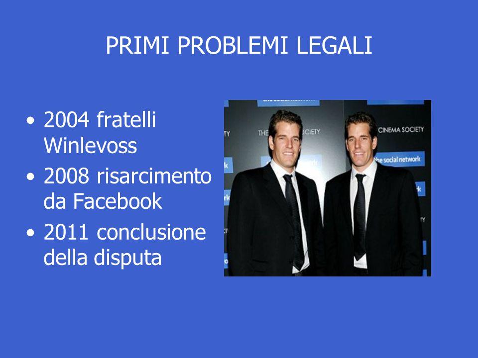 PRIMI PROBLEMI LEGALI 2004 fratelli Winlevoss 2008 risarcimento da Facebook 2011 conclusione della disputa