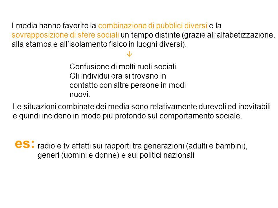 I media hanno favorito la combinazione di pubblici diversi e la sovrapposizione di sfere sociali un tempo distinte (grazie all'alfabetizzazione, alla