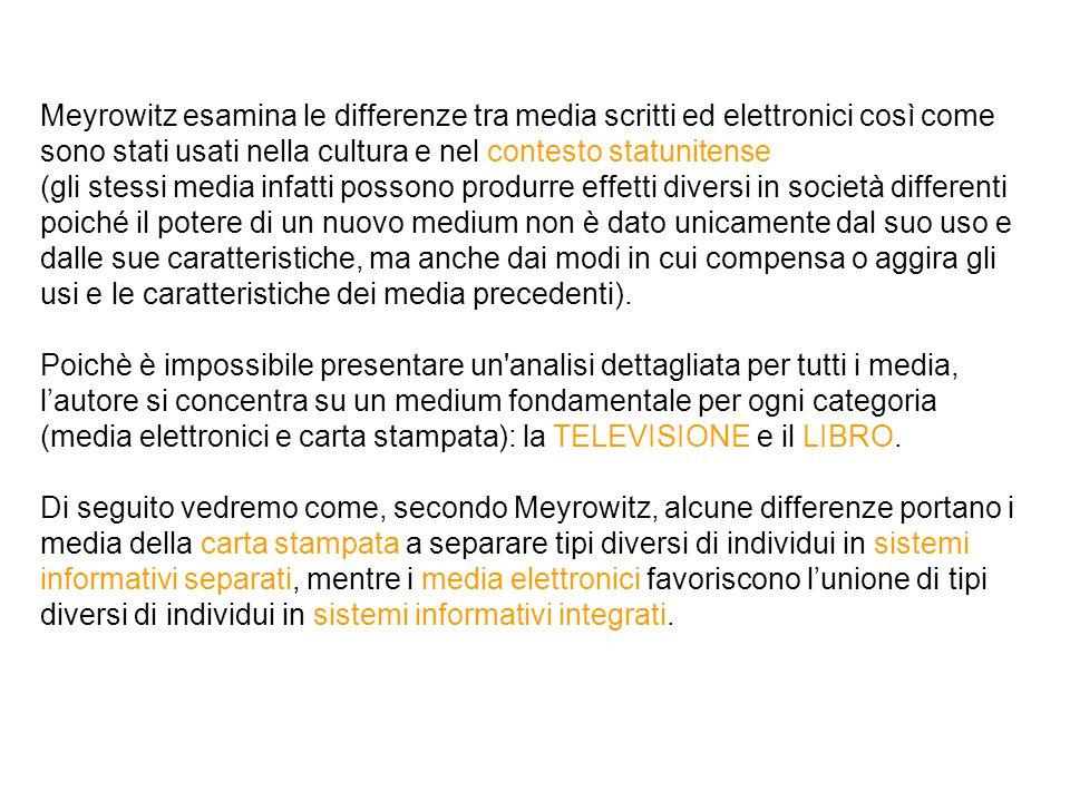 Meyrowitz esamina le differenze tra media scritti ed elettronici così come sono stati usati nella cultura e nel contesto statunitense (gli stessi medi