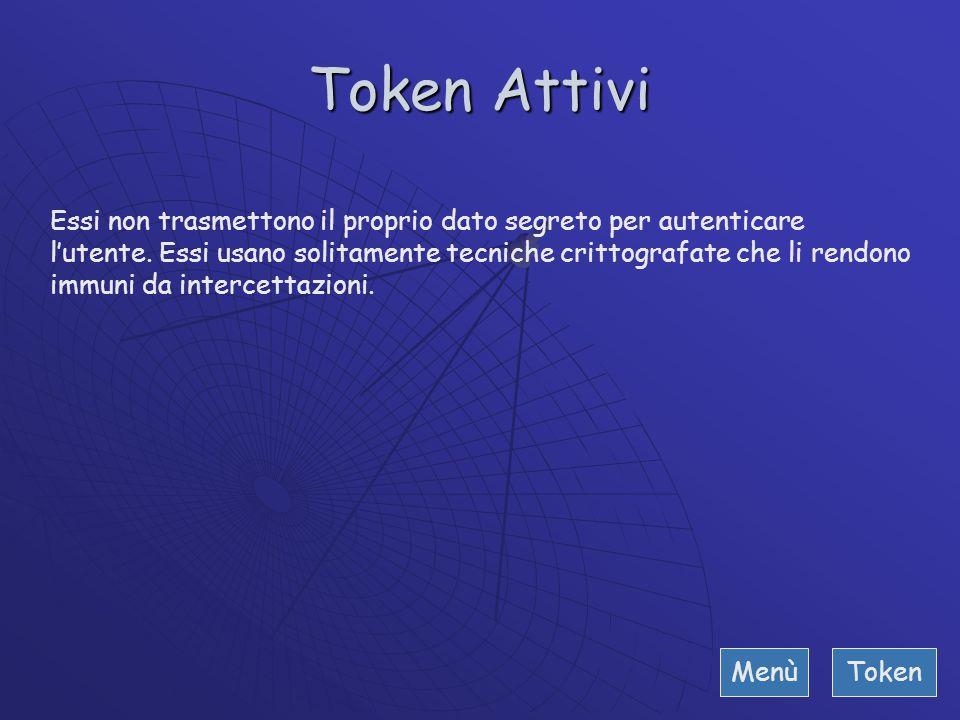 Token Passivi Ad esempio sono le carte di credito, bancomat di vecchia garanzia. Vengono chiamati così perché i dati di identificazione sono registrat