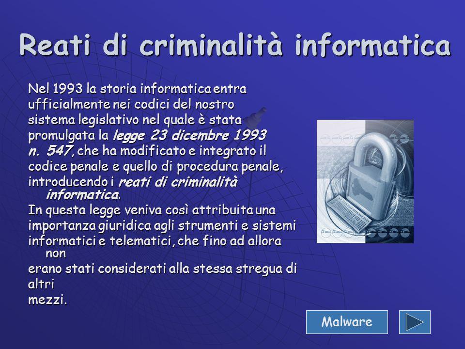  1993: Legge 23/12/93 n. 547 Integrazione del codice penale con l'introduzione dei reati di criminalità informatica;  1996: Legge 31/12/96 n. 675 Tu