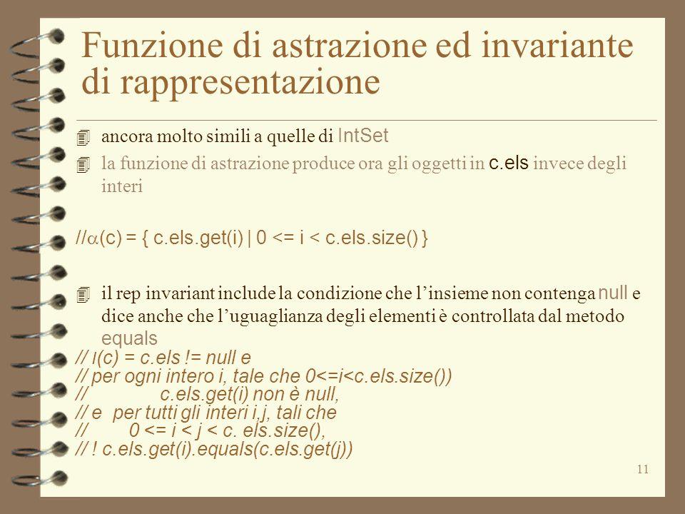 11 Funzione di astrazione ed invariante di rappresentazione 4 ancora molto simili a quelle di IntSet 4 la funzione di astrazione produce ora gli oggetti in c.els invece degli interi //  (c) = { c.els.get(i) | 0 <= i < c.els.size() } 4 il rep invariant include la condizione che l'insieme non contenga null e dice anche che l'uguaglianza degli elementi è controllata dal metodo equals // I (c) = c.els != null e // per ogni intero i, tale che 0<=i<c.els.size()) // c.els.get(i) non è null, // e per tutti gli interi i,j, tali che // 0 <= i < j < c.