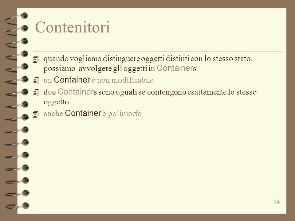 14 Contenitori 4 quando vogliamo distinguere oggetti distinti con lo stesso stato, possiamo avvolgere gli oggetti in Container s 4 un Container è non modificabile 4 due Container s sono uguali se contengono esattamente lo stesso oggetto 4 anche Container è polimorfo