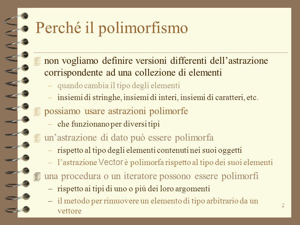 2 Perché il polimorfismo 4 non vogliamo definire versioni differenti dell'astrazione corrispondente ad una collezione di elementi –quando cambia il tipo degli elementi –insiemi di stringhe, insiemi di interi, insiemi di caratteri, etc.