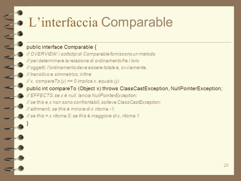 20 L'interfaccia Comparable public interface Comparable { // OVERVIEW: i sottotipi di Comparable forniscono un metodo // per determinare la relazione di ordinamento fra i loro // oggetti; l'ordinamento deve essere totale e, ovviamente, // transitivo e simmetrico; infine // x.