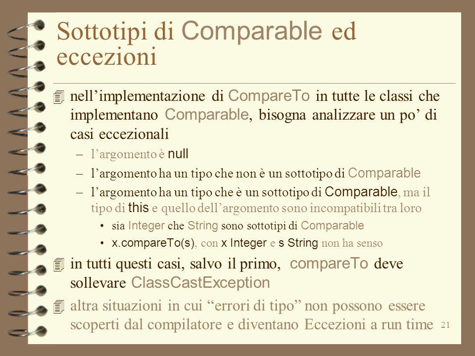 21 Sottotipi di Comparable ed eccezioni 4 nell'implementazione di CompareTo in tutte le classi che implementano Comparable, bisogna analizzare un po' di casi eccezionali –l'argomento è null –l'argomento ha un tipo che non è un sottotipo di Comparable –l'argomento ha un tipo che è un sottotipo di Comparable, ma il tipo di this e quello dell'argomento sono incompatibili tra loro sia Integer che String sono sottotipi di Comparable x.compareTo(s), con x Integer e s String non ha senso 4 in tutti questi casi, salvo il primo, compareTo deve sollevare ClassCastException 4 altra situazioni in cui errori di tipo non possono essere scoperti dal compilatore e diventano Eccezioni a run time