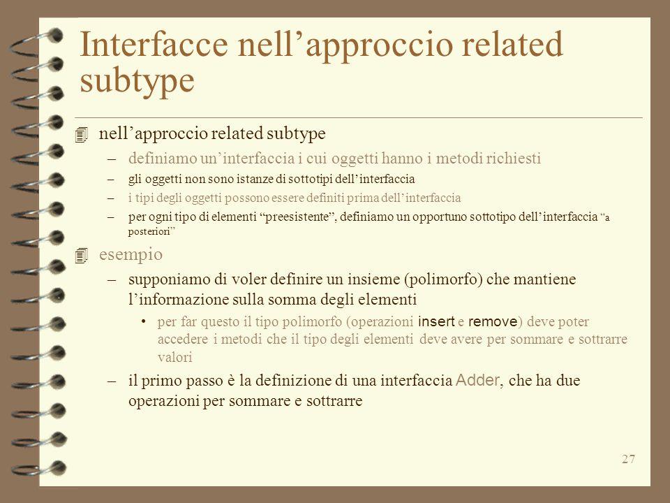 27 Interfacce nell'approccio related subtype 4 nell'approccio related subtype –definiamo un'interfaccia i cui oggetti hanno i metodi richiesti –gli oggetti non sono istanze di sottotipi dell'interfaccia –i tipi degli oggetti possono essere definiti prima dell'interfaccia –per ogni tipo di elementi preesistente , definiamo un opportuno sottotipo dell'interfaccia a posteriori 4 esempio –supponiamo di voler definire un insieme (polimorfo) che mantiene l'informazione sulla somma degli elementi per far questo il tipo polimorfo (operazioni insert e remove ) deve poter accedere i metodi che il tipo degli elementi deve avere per sommare e sottrarre valori –il primo passo è la definizione di una interfaccia Adder, che ha due operazioni per sommare e sottrarre