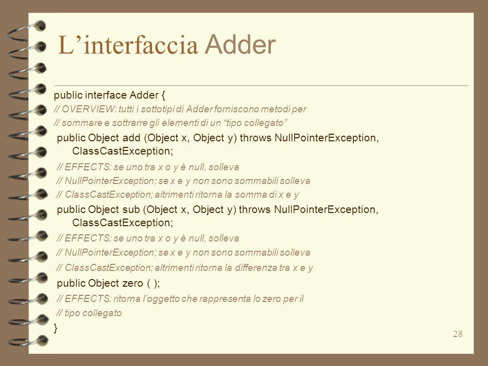 28 L'interfaccia Adder public interface Adder { // OVERVIEW: tutti i sottotipi di Adder forniscono metodi per // sommare e sottrarre gli elementi di un tipo collegato public Object add (Object x, Object y) throws NullPointerException, ClassCastException; // EFFECTS: se uno tra x o y è null, solleva // NullPointerException; se x e y non sono sommabili solleva // ClassCastException; altrimenti ritorna la somma di x e y public Object sub (Object x, Object y) throws NullPointerException, ClassCastException; // EFFECTS: se uno tra x o y è null, solleva // NullPointerException; se x e y non sono sommabili solleva // ClassCastException; altrimenti ritorna la differenza tra x e y public Object zero ( ); // EFFECTS: ritorna l'oggetto che rappresenta lo zero per il // tipo collegato }