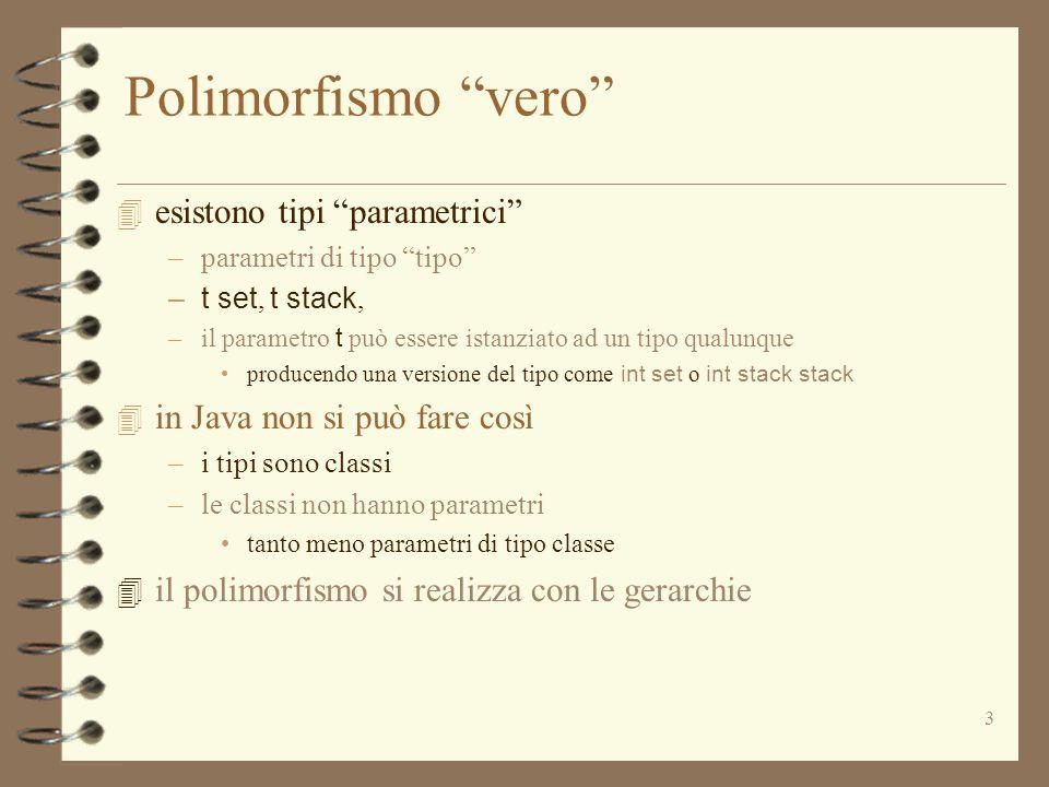 3 Polimorfismo vero 4 esistono tipi parametrici –parametri di tipo tipo –t set, t stack, –il parametro t può essere istanziato ad un tipo qualunque producendo una versione del tipo come int set o int stack stack 4 in Java non si può fare così –i tipi sono classi –le classi non hanno parametri tanto meno parametri di tipo classe 4 il polimorfismo si realizza con le gerarchie
