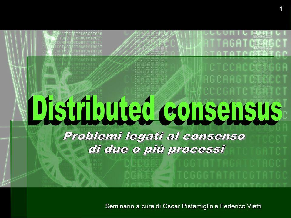 Seminario a cura di Oscar Pistamiglio e Federico Vietti 22 Fallimento del link: Versione Deterministica  Dimostrazione per assurdo: P1P1 P2P2 A questo punto immaginiamo la sequenza ⍺ ''' in cui nessun messaggio è consegnato, ma entrambi i processi sono inizializzati a 0.