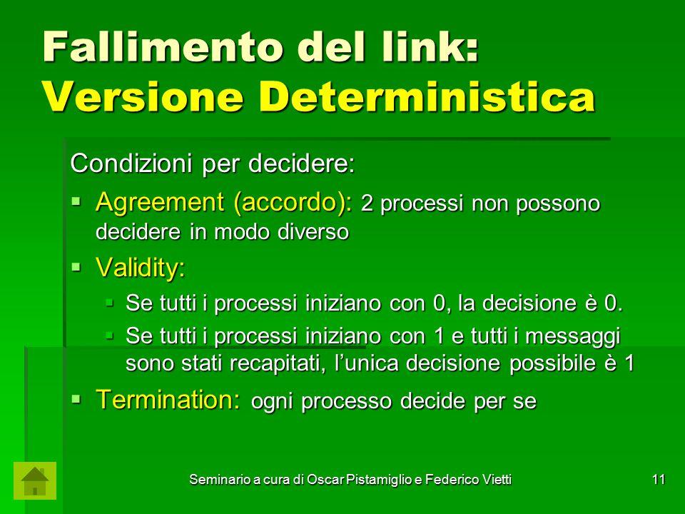 Seminario a cura di Oscar Pistamiglio e Federico Vietti 11 Fallimento del link: Versione Deterministica Condizioni per decidere:  Agreement (accordo)