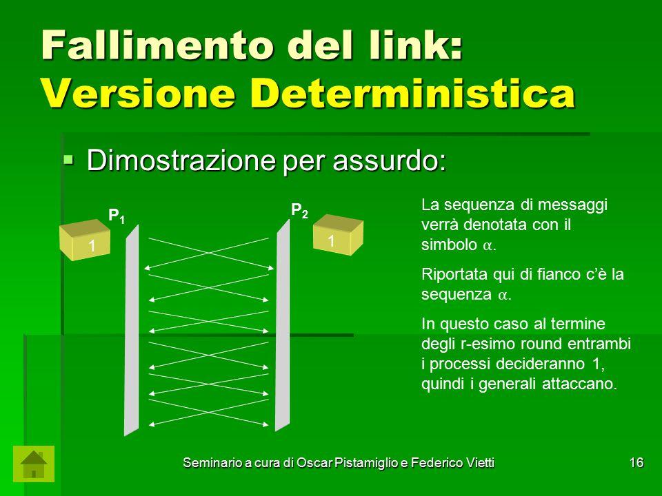 Seminario a cura di Oscar Pistamiglio e Federico Vietti 16 Fallimento del link: Versione Deterministica  Dimostrazione per assurdo: P1P1 P2P2 La sequ