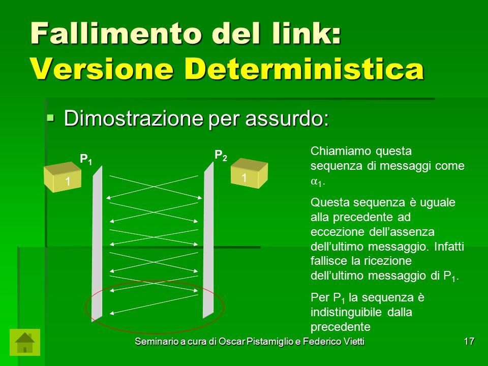 Seminario a cura di Oscar Pistamiglio e Federico Vietti 17 Fallimento del link: Versione Deterministica  Dimostrazione per assurdo: P1P1 P2P2 Chiamia