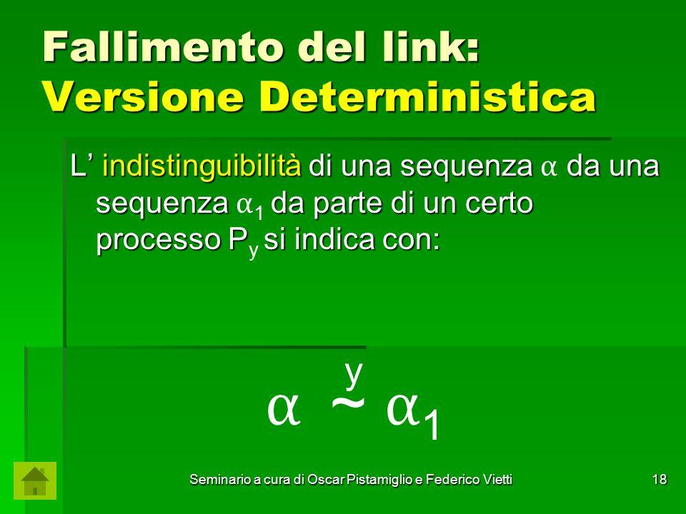Seminario a cura di Oscar Pistamiglio e Federico Vietti 18 Fallimento del link: Versione Deterministica L' indistinguibilità di una sequenza da una se