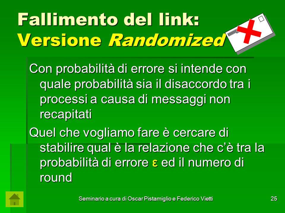 Seminario a cura di Oscar Pistamiglio e Federico Vietti 25 Fallimento del link: Versione Randomized Con probabilità di errore si intende con quale pro