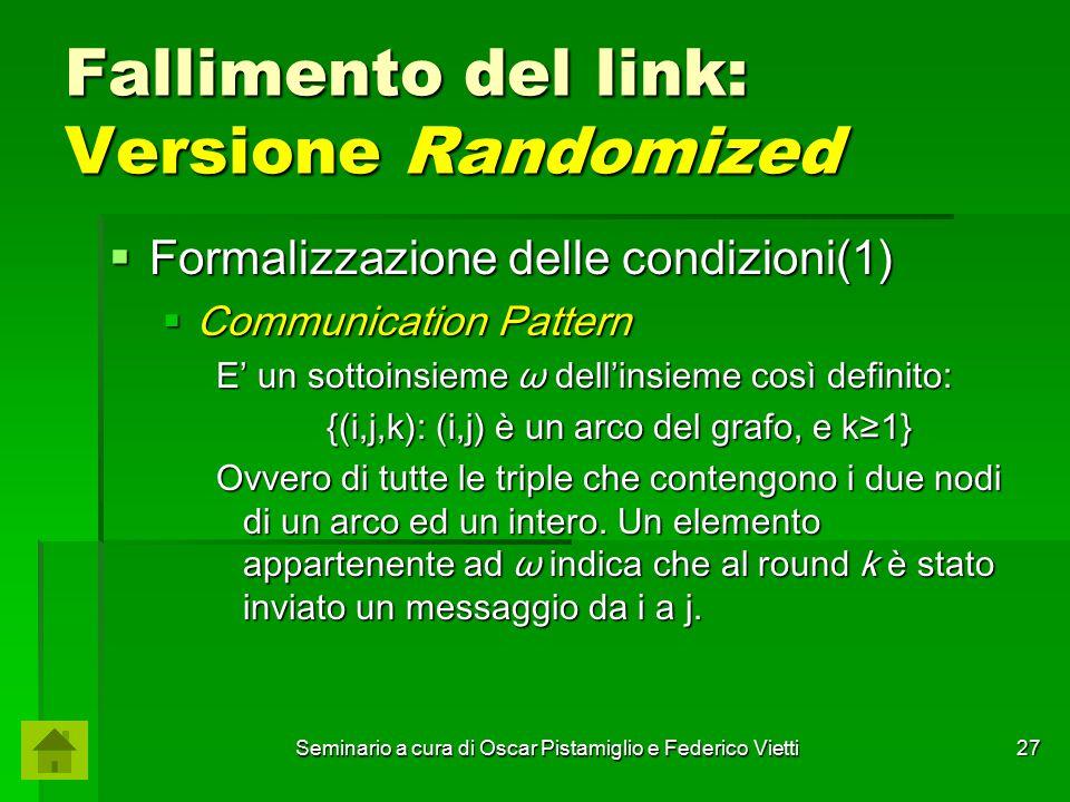 Seminario a cura di Oscar Pistamiglio e Federico Vietti 27 Fallimento del link: Versione Randomized  Formalizzazione delle condizioni(1)  Communicat