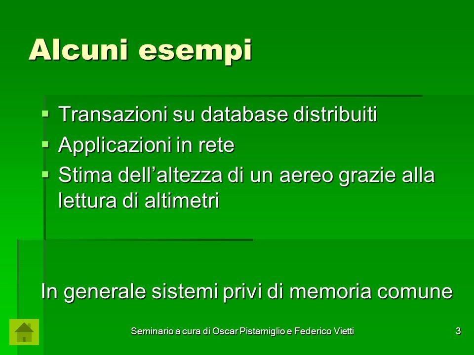 Seminario a cura di Oscar Pistamiglio e Federico Vietti 3 Alcuni esempi  Transazioni su database distribuiti  Applicazioni in rete  Stima dell'alte