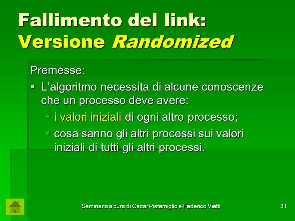 Seminario a cura di Oscar Pistamiglio e Federico Vietti 31 Fallimento del link: Versione Randomized Premesse:  L'algoritmo necessita di alcune conosc