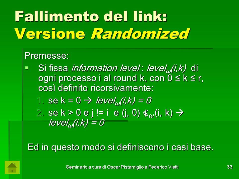 Seminario a cura di Oscar Pistamiglio e Federico Vietti 33 Fallimento del link: Versione Randomized Premesse:  Si fissa information level : level ω (