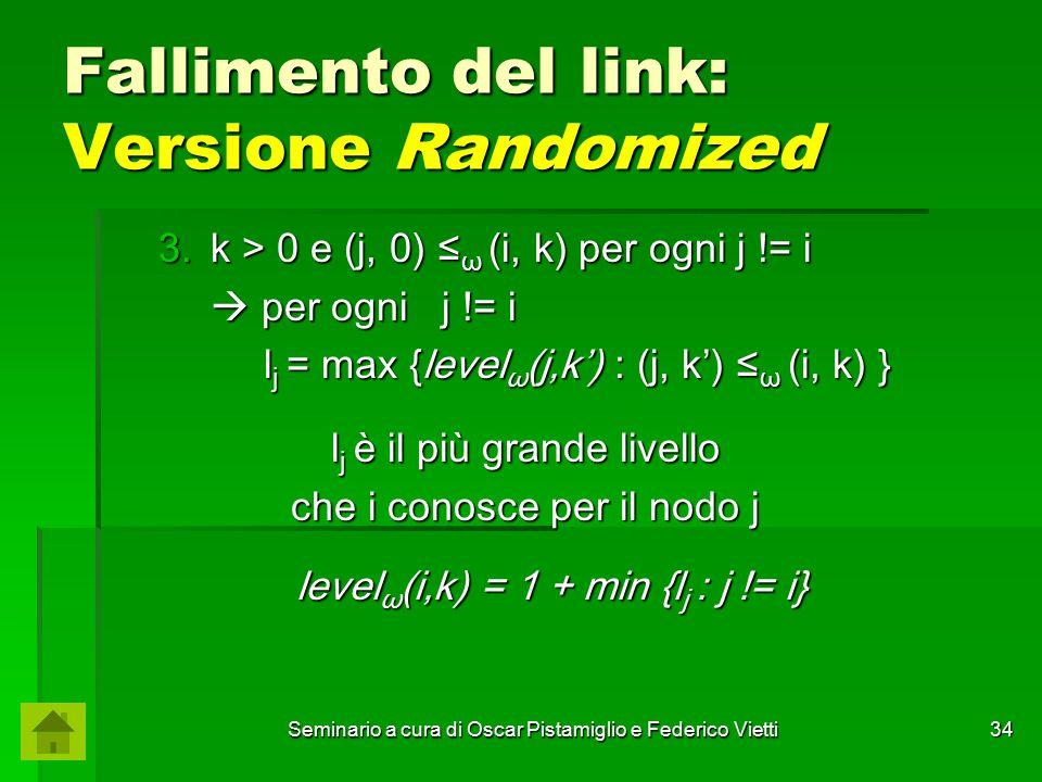 Seminario a cura di Oscar Pistamiglio e Federico Vietti 34 Fallimento del link: Versione Randomized 3.k > 0 e (j, 0) ≤ ω (i, k) per ogni j != i  per