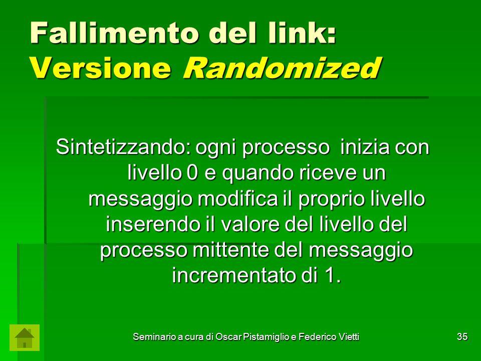 Seminario a cura di Oscar Pistamiglio e Federico Vietti 35 Fallimento del link: Versione Randomized Sintetizzando: ogni processo inizia con livello 0