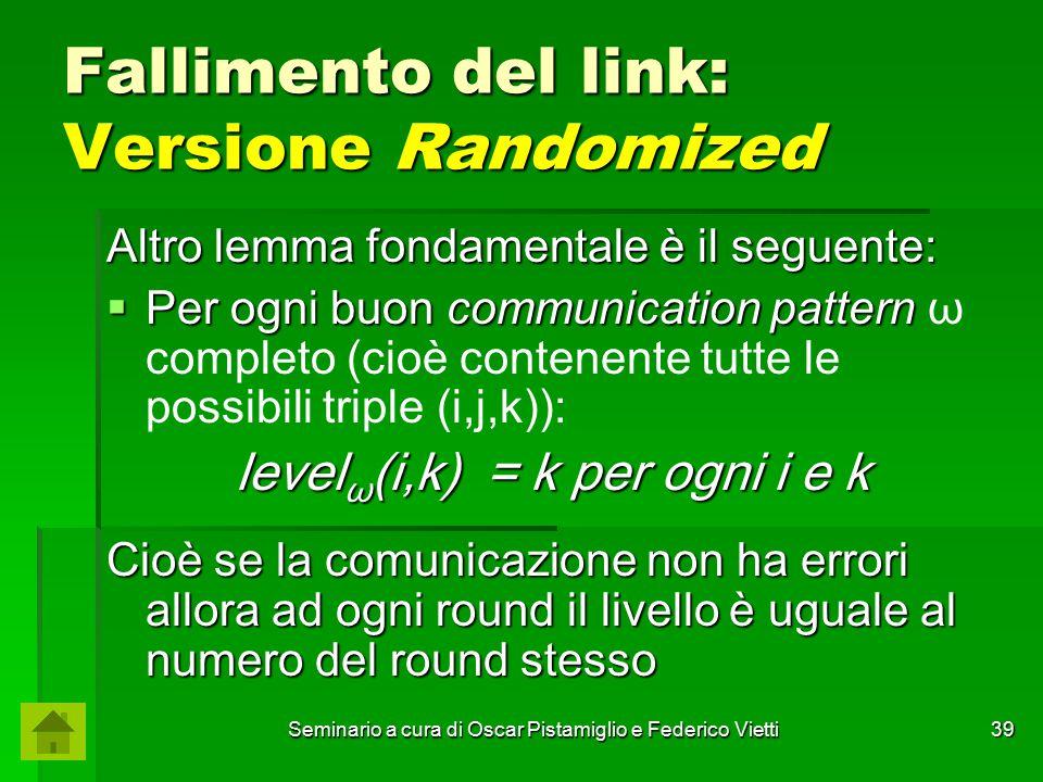 Seminario a cura di Oscar Pistamiglio e Federico Vietti 39 Fallimento del link: Versione Randomized Altro lemma fondamentale è il seguente:  Per ogni