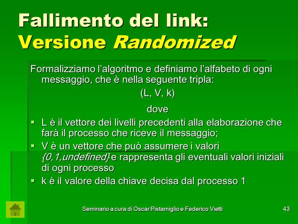 Seminario a cura di Oscar Pistamiglio e Federico Vietti 43 Fallimento del link: Versione Randomized Formalizziamo l'algoritmo e definiamo l'alfabeto d