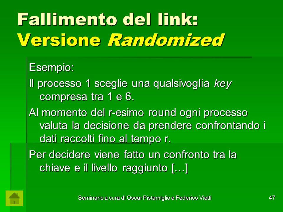 Seminario a cura di Oscar Pistamiglio e Federico Vietti 47 Fallimento del link: Versione Randomized Esempio: Il processo 1 sceglie una qualsivoglia ke