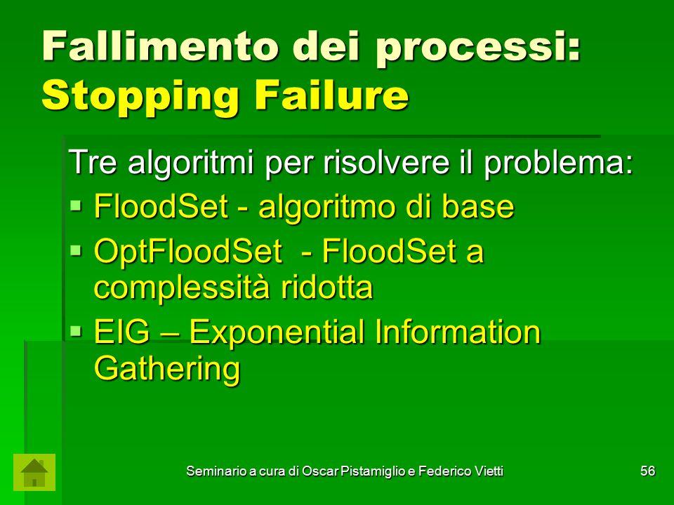 Seminario a cura di Oscar Pistamiglio e Federico Vietti 56 Fallimento dei processi: Stopping Failure Tre algoritmi per risolvere il problema:  FloodS