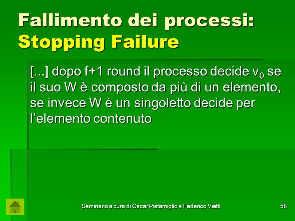Seminario a cura di Oscar Pistamiglio e Federico Vietti 58 Fallimento dei processi: Stopping Failure [...] dopo f+1 round il processo decide v 0 se il