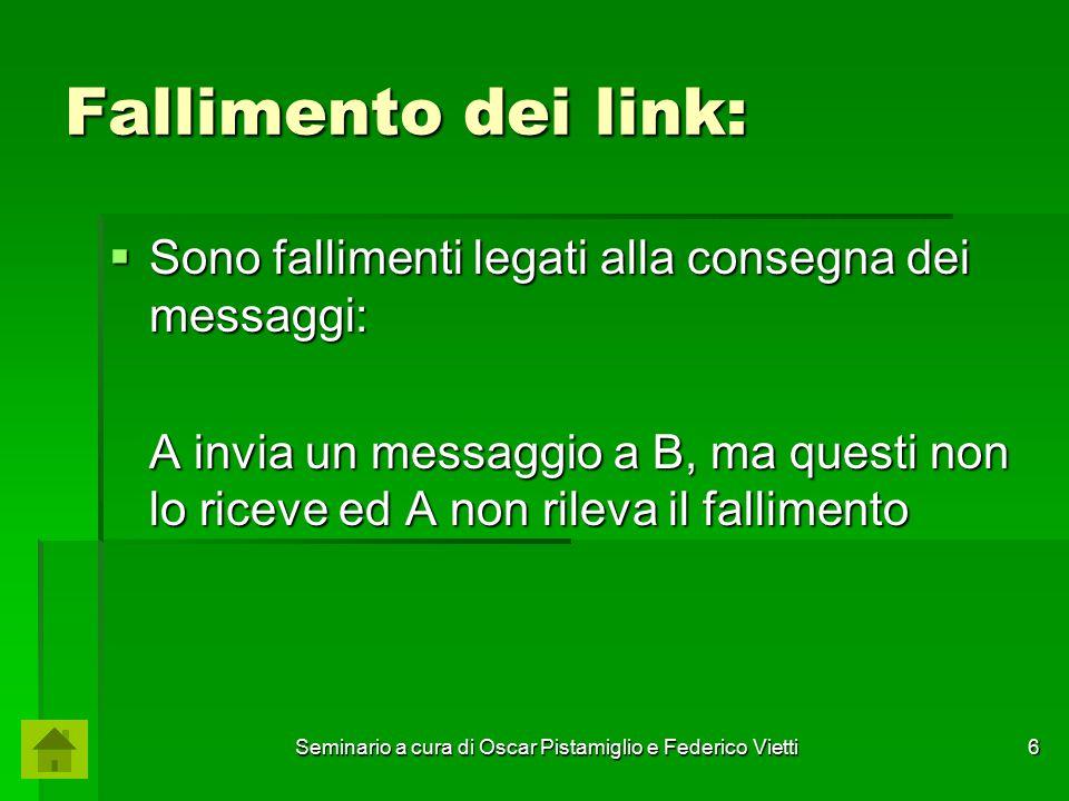 Seminario a cura di Oscar Pistamiglio e Federico Vietti 17 Fallimento del link: Versione Deterministica  Dimostrazione per assurdo: P1P1 P2P2 Chiamiamo questa sequenza di messaggi come ⍺ 1.
