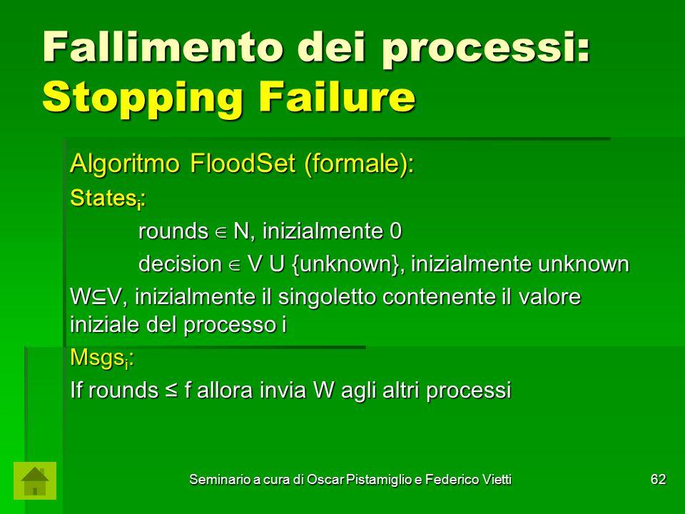 Seminario a cura di Oscar Pistamiglio e Federico Vietti 62 Fallimento dei processi: Stopping Failure Algoritmo FloodSet (formale): States i : rounds ∈