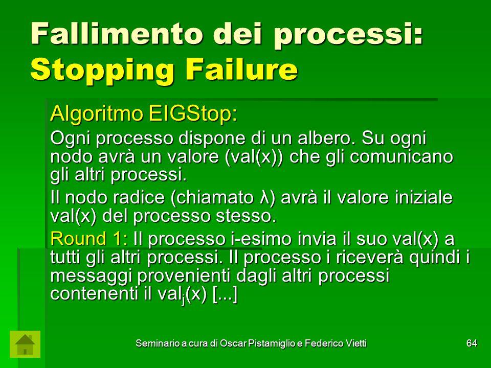 Seminario a cura di Oscar Pistamiglio e Federico Vietti 64 Fallimento dei processi: Stopping Failure Algoritmo EIGStop: Ogni processo dispone di un al
