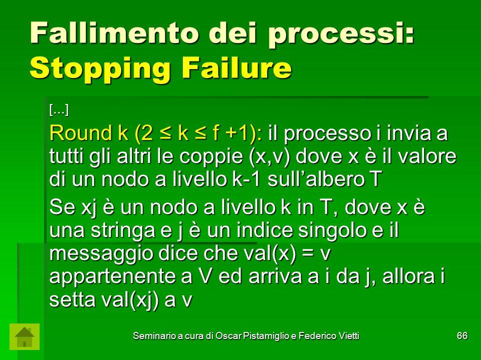 Seminario a cura di Oscar Pistamiglio e Federico Vietti 66 Fallimento dei processi: Stopping Failure [...] Round k (2 ≤ k ≤ f +1): il processo i invia