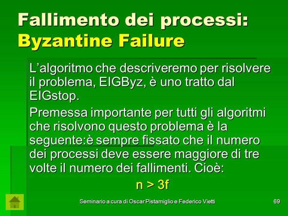 Seminario a cura di Oscar Pistamiglio e Federico Vietti 69 Fallimento dei processi: Byzantine Failure L'algoritmo che descriveremo per risolvere il pr